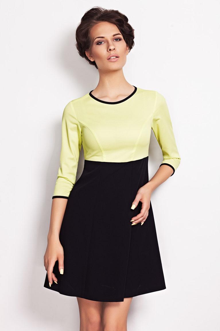 sukienka trapezowa limonka