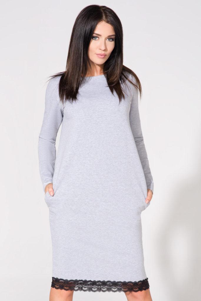 szara sukienka z koronką